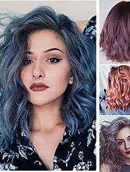 cheap -Synthetic Wig Curly Asymmetrical Wig Medium Length Grey Ombre Pink Ombre Purple Ombre Blue Synthetic Hair 16 inch Women's Best Quality Mixed Color