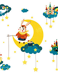 cheap -Cartoon cute rabbit wall sticker room bedroom bedside layout moon decorations stickers porch self-adhesive pictorial