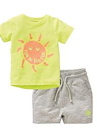 cheap -Kids Boys' Basic Print Short Sleeve Clothing Set Yellow