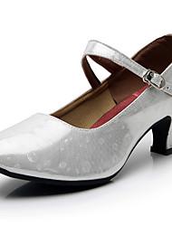 cheap -Women's Modern Shoes/Character Shoes Synthetics Buckle Heel Buckle Cuban Heel Dance Shoes Silver