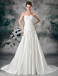 cheap -A-Line Wedding Dresses Sweetheart Neckline Chapel Train Lace Satin Strapless with Ruched Draping Appliques 2020