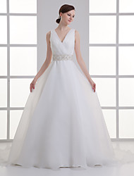 cheap -A-Line Wedding Dresses V Neck Court Train Organza Satin Regular Straps with Buttons Ruched Embroidery 2020