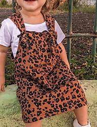 cheap -Toddler Girls' Leopard Sleeveless Knee-length Dress Brown