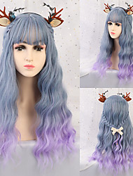 cheap -Synthetic Wig Ombre Curly Tight Curl Minaj Neat Bang With Bangs Wig Long Purple / Blue Light Blue Synthetic Hair 24 inch Women's Party Synthetic Natural Blue Purple EMMOR / African American Wig
