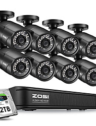 cheap -ZOSI 8CH H.265 1080P 2MP Plug & Play 48V PoE NVR Home Security Surveillance System Kit P2P with PoE Security CCTV Day & Night Vision Metal Outdoor IP Camera Waterproof IP67