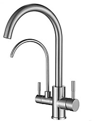 cheap -Kitchen faucet - Two Handles Two Holes Electroplated Tall / High Arc / Purified water Centerset Contemporary Kitchen Taps