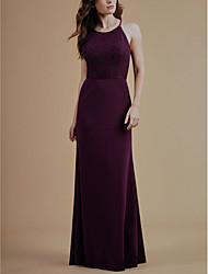 cheap -Sheath / Column Halter Neck Floor Length Lace / Satin Bridesmaid Dress with Lace