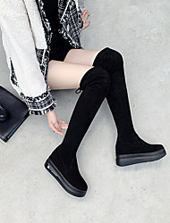cheap -Women's Boots Over-The-Knee Boots Wedge Heel Suede Over The Knee Boots Fall & Winter Black