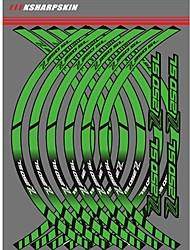 Недорогие -белый / желтый / зеленый индивидуальный текст номер наклейки мотоцикл обода колеса наклейки колесо светоотражающие наклейки полосы для kawasaki z250sl
