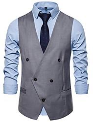 cheap -Men's Vest, Solid Colored V Neck Polyester Black / White / Navy Blue