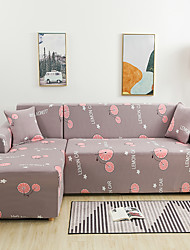 cheap -Cartoon Orange Print Dustproof All-powerful Slipcovers Stretch L Shape Sofa Cover Super Soft Fabric Couch Cover with One Free Pillow Case