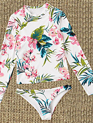 abordables -Femme Sportif Basique Blanche Triangle Tanga Bikinis Maillots de Bain - Fleur S M L Blanche
