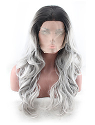 cheap -Synthetic Wig Curly Asymmetrical Wig Long Grey Synthetic Hair 27 inch Women's Best Quality Gray