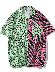cheap -Men's Beach Shirt - Color Block Green