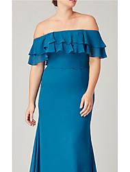 cheap -Sheath / Column Off Shoulder Floor Length Charmeuse Bridesmaid Dress with Ruffles / Ruching