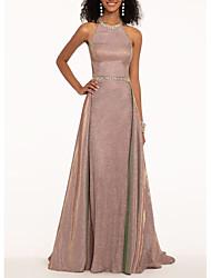 cheap -A-Line Halter Neck Sweep / Brush Train Polyester Elegant Engagement / Formal Evening Dress with Beading / Sash / Ribbon 2020