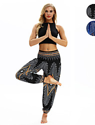 cheap -Women's High Waist Yoga Pants Harem Smocked Waist Bloomers Quick Dry Breathable Bohemian Hippie Boho Black Light Blue Fitness Gym Workout Dance Sports Activewear Stretchy Loose