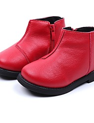 cheap -Girls' Combat Boots PU Boots Little Kids(4-7ys) Black / Red / Brown Winter / Booties / Ankle Boots