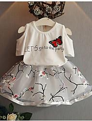 cheap -Baby Girls' Basic Jacquard Print Short Sleeve Knee-length Dress White