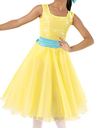 cheap -Ballet Dresses Girls' Performance Tulle / Stretch Satin / Lycra Satin Bow / Wave-like / Ruche Sleeveless Natural Dress