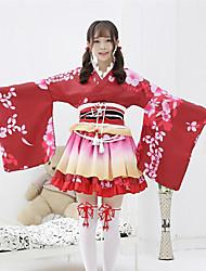 cheap -Sweet Lolita Kimonos Japanese Traditional Kimono Female Japanese Cosplay Costumes Mint Green / Purple / Orange Print Bowknot Long Sleeve / Dress