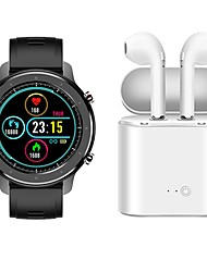 cheap -F12 Smartwatch Bluetooth Fitness Tracker with Wireless Earphones Support Heart Rate Monitor/ Blood Pressure Measurement Compatible with Samsung/ IOS/ Android Phones