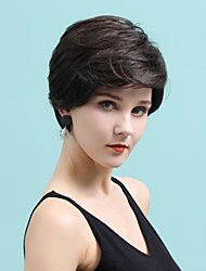 cheap -Human Hair Wig Short Straight Natural Straight Bob Pixie Cut Layered Haircut Asymmetrical Black Brown Fashionable Design Cool Fashion Capless Women's All Chestnut Brown Medium Auburn Dark Wine 10 inch