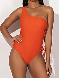 cheap -Women's Basic Orange High Neck Briefs One-piece Swimwear - Solid Colored S M L Orange