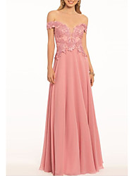 cheap -A-Line Open Back Prom Formal Evening Dress Off Shoulder Short Sleeve Floor Length Chiffon with Pleats Appliques 2021