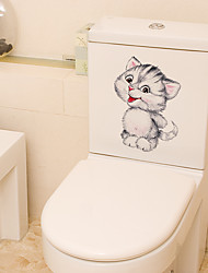 cheap -Funny Cat Toilet Stickers - Animal Wall Stickers Landscape / Animals Bathroom / Kids Room 11*14.5cm