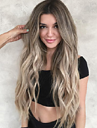 cheap -Synthetic Wig Body Wave Asymmetrical Wig Long Black / Blonde Synthetic Hair 26 inch Women's Best Quality curling Blonde