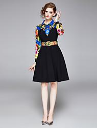 cheap -Women's Black Dress Elegant Vintage Daily Wear Vacation A Line Floral Shirt Collar Patchwork Print M L