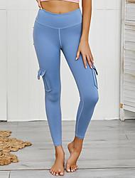 cheap -Women's High Waist Yoga Pants Winter Pocket Solid Color Jade Pink Pale Blue Cyan Running Fitness Gym Workout Tights Leggings Sport Activewear Moisture Wicking Butt Lift Tummy Control Power Flex High