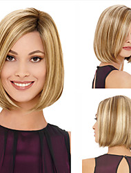 cheap -Synthetic Wig kinky Straight Bob Wig Short Blonde Synthetic Hair 11 inch Women's Best Quality Blonde