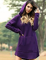 cheap -Women's Loose Shift Dress - Solid Colored Black Purple Yellow S M L XL