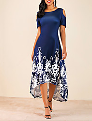 cheap -Women's Plus Size Daily Casual Basic High Low Cold Shoulder Swing Dress - Floral Flower Cut Out Floral Print Black Wine Navy Blue L XL XXL XXXL Belt Not Included
