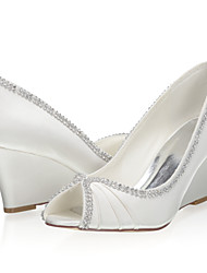 abordables -Femme Chaussures de mariage Hauteur de semelle compensée Bout ouvert Satin Doux Printemps été / Automne hiver Ivoire / Mariage