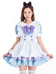 cheap -Sweet Lolita Dress JSK / Jumper Skirt Female Japanese Cosplay Costumes Blue / Pink Bowknot Short Sleeve Above Knee / Headpiece / Apron