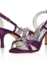 cheap -Women's Wedding Shoes Stiletto Heel Open Toe Rhinestone Satin Sweet Spring & Summer / Fall & Winter Purple