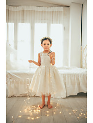 cheap -Ball Gown Tea Length Flower Girl Dress - Lace / Tulle Sleeveless Jewel Neck with Lace