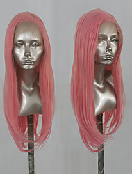 cheap -Synthetic Lace Front Wig Natural Straight Side Part Lace Front Wig Long Pink Synthetic Hair 18-24 inch Women's Cosplay Heat Resistant Party Brown