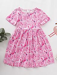 cheap -Toddler Girls' Geometric Short Sleeve Above Knee Dress Blushing Pink