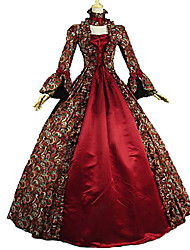 cheap -The Great Gatsby Retro Vintage Rococo Victorian Medieval Dress Masquerade Women's Costume Burgundy / Red Vintage Cosplay Party Masquerade Long Sleeve