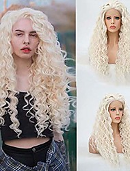 cheap -Synthetic Lace Front Wig Spiral Curl Free Part Lace Front Wig Long Platinum Blonde Synthetic Hair 18-26 inch Women's Heat Resistant Classic Synthetic Blonde / Natural Hairline
