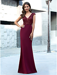 cheap -Mermaid / Trumpet Plunging Neck Floor Length Polyester Vintage / Red Engagement / Formal Evening Dress with Sequin 2020