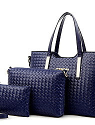 cheap -Women's Zipper PU Bag Set Solid Color 3 Pcs Purse Set Black / Gold / Blue