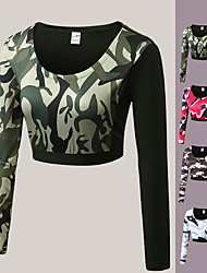 cheap -Women's Yoga Top Crop Top Winter Fashion Black White Camouflage Pink Running Fitness Gym Workout Tee / T-shirt Long Sleeve Sport Activewear Breathable Moisture Wicking Quick Dry High Elasticity Slim