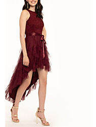 cheap -A-Line Elegant Party Wear Cocktail Party Dress Jewel Neck Sleeveless Asymmetrical Lace Tulle with Sash / Ribbon Cascading Ruffles 2020