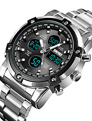 cheap -Men's Dress Watch Japanese Digital Stylish Stainless Steel Titanium Alloy Black 30 m Water Resistant / Waterproof Chronograph Alarm Clock Analog - Digital Casual Fashion - Black Silver Silver / Blue