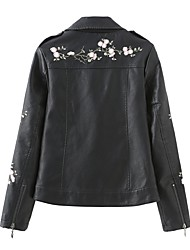 cheap -Women's Daily Spring &  Fall Short Leather Jacket, Solid Colored Stand Long Sleeve PU Black